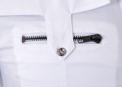 D&R Fashion Männer Slim Fit Shirt mit stilvollen Taschen mit Reißverschluss Weiß