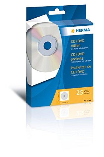 Herma 1144 CD DVD Hüllen (124 x 124 mm) weiß, 25 Stück, aus Papier, mit Sichtfenster, Rückseite selbstklebend
