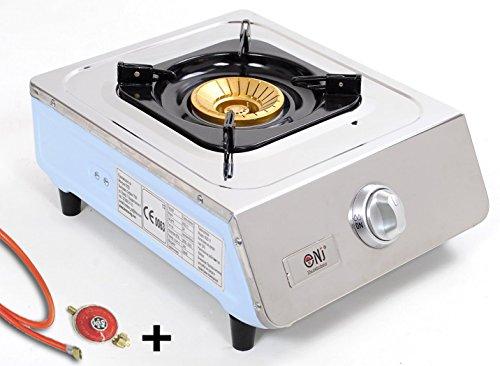 J+N NSD-11 Hochwertiger Edelstahl Gaskocher 1 flammig 5,0 KW LPG Campingkocher WOK Hockerkocher mit Zündsicherung