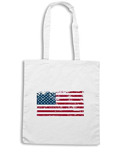 T-Shirtshock - Borsa Shopping T0760 bandiera usa flag politica Bianco