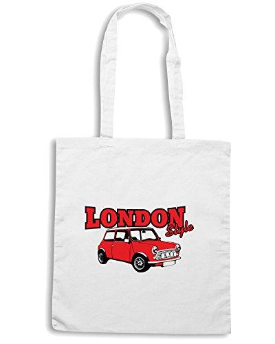 T-Shirtshock - Bolsa para la compra T0159 LONDON STYLE mini cooper auto moto motori, Talla Capacita 10 litri