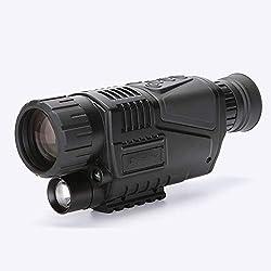 L.tsn Digital de Visión Nocturna Monocular Scope 5X40 Infrarrojo IR Camara Grabación Imagen y Vídeo Reproducción Función 8GB TF Tarjeta para Equipo de Caza, Black