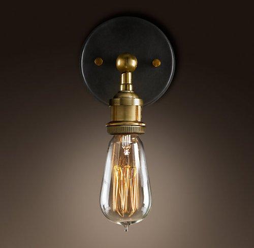 Preisvergleich Produktbild Edison Wandleuchte Fassung in Messingoptik E27 Vintage Retro Steam Punk Wandlampe Loft Innen Beleuchtung, Ohne Leuchtmittel