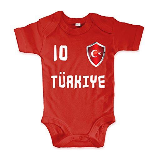 net-shirts Organic Baby Body mit Türkei Turkey Türkiye 02 Aufdruck Fußball Fan WM EM Strampler - Spielernummer wählbar, Größe 00-03 Monate-Spielernummer 09
