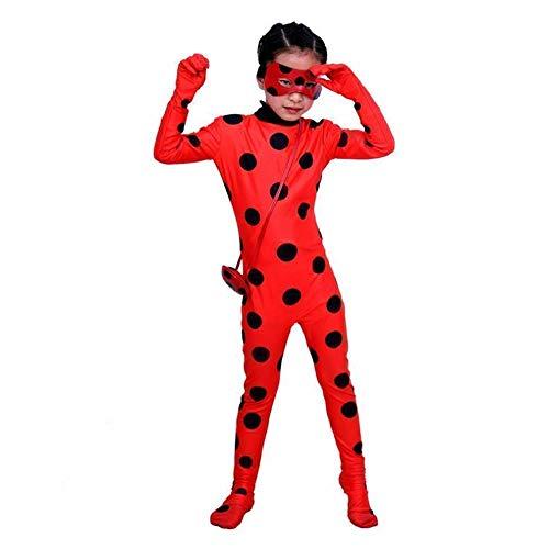Z&J Halloween-Leistung Kostüm Sieben-Sterne-Marienkäfer Maske Kleidung Einteilige Strumpfhosen Perücke Shooting Requisiten,Kinder,L
