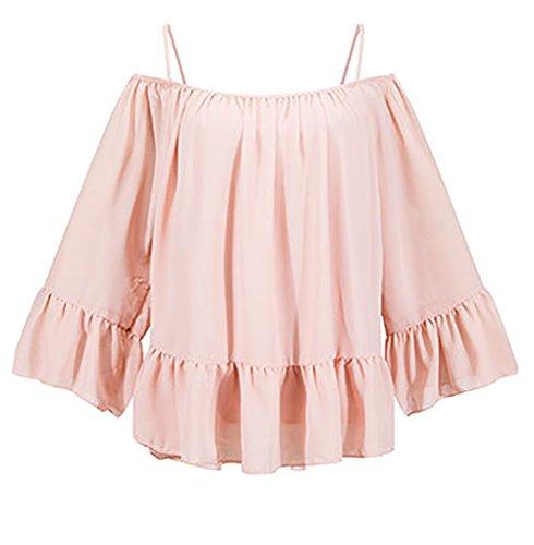 Damen Carmenbluse Chiffon-Bluse Langarmshirt Shirt Rüschen Langarm Boot Hals Locker Rückenfrei Schulterfrei Uni-Farben Pink