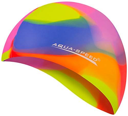 Aqua Speed Badekappe | Damen & Herren I Swim Cap | Bademütze wasserdicht | Badehaube | Schwimmhaube für Erwachsene & Kinder I Silikonbadekappe I 12. Bunt + Kleines Mikrofasertuch - 75