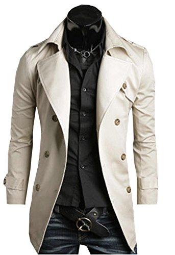cooshional Trench Coat Homme Caban Jacket avec Ceinture Printemps Automne Manteau Ves