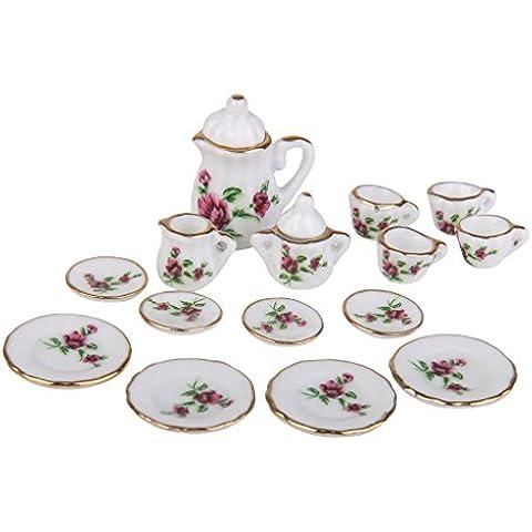 15pcs Juego de Té Taza Plato Porcelana de Peonía Roja Miniatura para Casa de Muñecas
