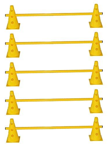 Agility Hundesport - 5er Set Steckhürden - 10x MZK: 23 cm, gelb / 5x Stange: 100 cm, gelb