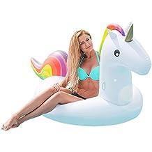 Flotador de unicornio hinchable grande y blanco. Divertida colchoneta hinchable de playa y piscina para