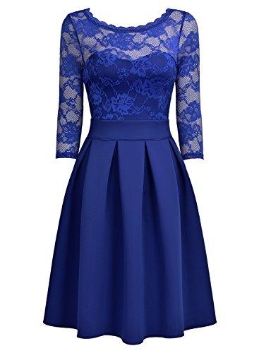 79dc4be5aa5e71 ... Miusol Damen Elegant Cocktailkleid Spitzen 3/4 Arm Vintage Kleid  Brautjungfer 50er Jahr Abendkleid Hellblau ...