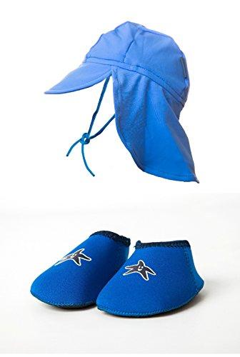 Yoccoes designs , Chaussures souple pour bébé (garçon) bleu M 12-18 mois avec Yoccoes Chapeau anti UV - Bébé (garçon) bleu 9 - 18 Mois