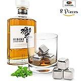 Glaçon Whisky 8 Pièces - Glaçons à Whisky en Acier Inoxydable Réutilisable - Idéal pour rafraichir Whisky et autre boisson sans altérer le goût.