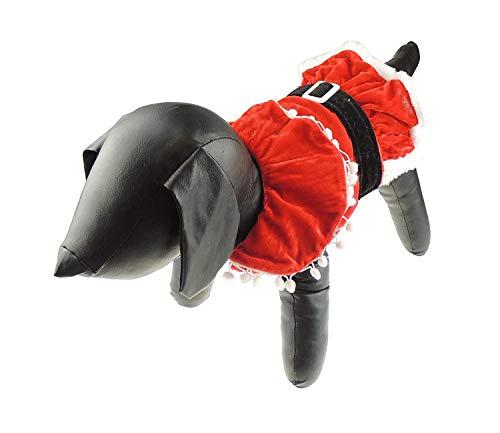 Glamour Girlz Hund Katze Festliche Weihnachten rot Santa Claus Warm Winter Jumper Coat Outfit Kostüm Pom Pom ()