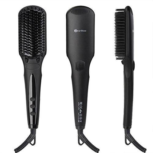 Haarglätter Bürste Glättbürste, BearMoo Keramik Haarglätter, Schnellaufheizung mit MCH Technologie, Doppelt Anionengenerator, Antistatischer Metall-Keramik-Heater mit Überhitzungsschutz- Mattschwarz