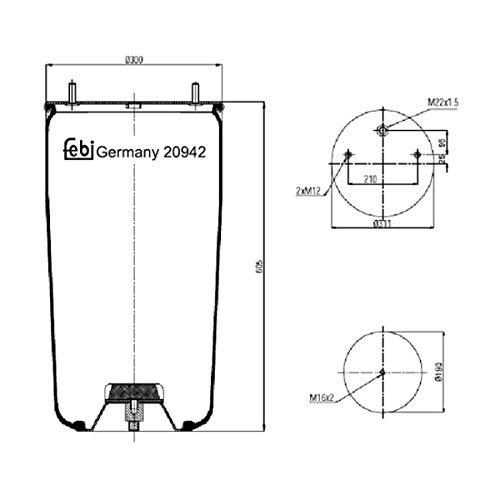 Febi-Bilstein 20942 Soufflet à air, suspension pneumatique