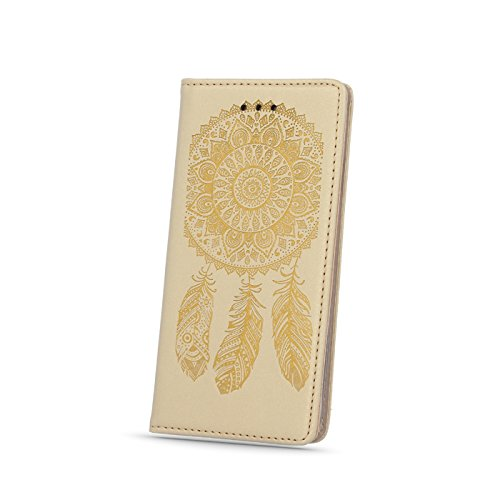 "BOOK CASE SMART MAGNET MUSTER für Apple iPhone 6 4.7"" Cover Handy Tasche Flipcase Etui Buchform Kunststoff TPU Halterung für Kreditkarten (Traumfänger schwarz / Dreamcatcher black) Traumfänger gold / Dreamcatcher gold"