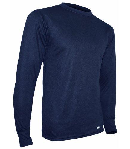 PolarMax Mid Gewicht Herren Shirt Double Base Layer Long Sleeve Crew Tee, Herren, Indigo -