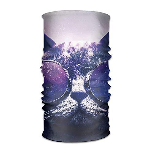 Uosliks Galaxy Cat Funny Headwear Bandanas Seamless Men Women Headwear 12-in-1 Stretchable Magic Scarf Balaclava
