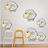 HHZDH Cartoon Animal Wall Stickers Pecore per Bambini Camere Decorazione Cute Pecore Rimovibili Wallpaper Stickers Murali Home Decor