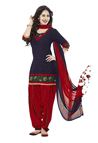 Ishin Women's Synthetic Blue & Red Bollywood Printed Unstitched Salwar Suit Dress Material (Anarkali/Patiyala) With Dupatta  available at amazon for Rs.299