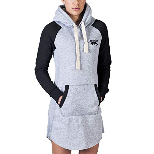 SMILODOX Damen Pullover Kapuzenpullover, Mehrfarbig (Grau/Schwarz), Medium