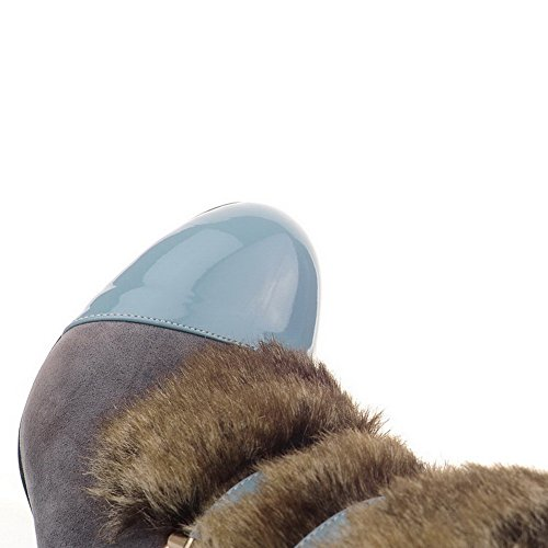 Bleu Bottes Talon Rond Tire Haut Bas Couleurs Femme Haut à Mélangées AgooLar OPqSfw1