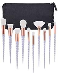 Lot de 10pinceaux de maquillage Robinson avec manche en forme de corne de licorne pour fond de teint, sourcils, eyeliner, blush, anti-cernes - avec pochette