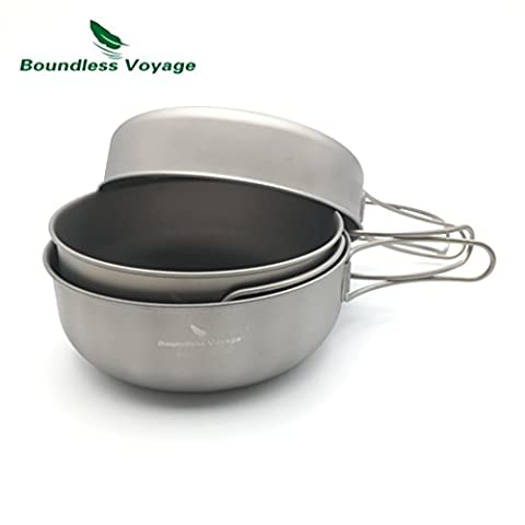 BoundlessVoyage Outdoor Ultralight Folding Handle Titanium Bowl Set Cookware Picnic Titanium Pan set