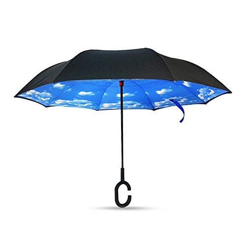 ToxTech Auto Stand C-gancio Ombrello libero Tenere doppio strato invertito Umbrella (Leggero Blu)