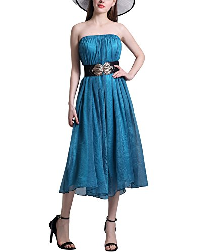 BIUBIU Damen Sommer Einfarbige Chiffon Strandkleid Party Kleid,Vielfalt Arten von Trageweise Blau