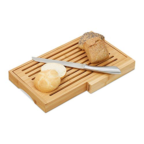 Relaxdays Brotschneidebrett, praktisches Brotbrett mit Messer aus Edelstahl, Krümelrost, Bambus, HBT 4x40x24 cm, natur