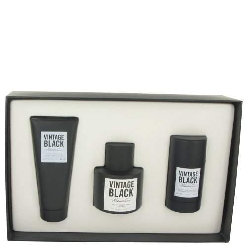 Kenneth Cole Vintage Black by Kenneth Cole Men's Gift Set -- 3.4 oz Eau De Toilette Spray + 3.4 oz After Shave Balm +2.6 oz Deodorant Stick - 100% Authentic by Kenneth Cole -
