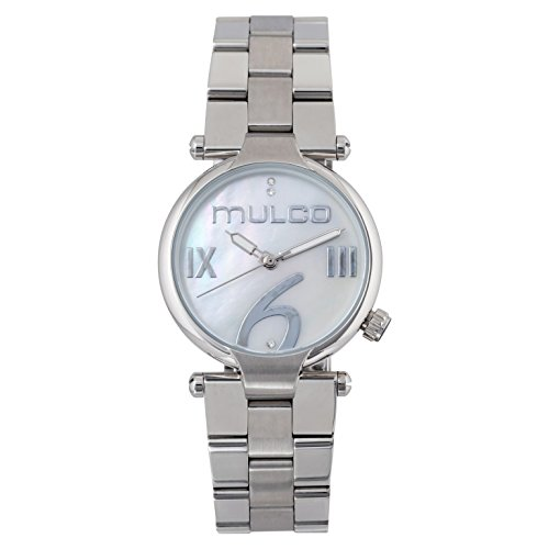 Mulco Mini Metal Watch- Authentic White Mother Pearl Dial- All Silver Stainless Steel- Swarovski Crystals- Quartz Movement- Water Resistant- Women's Fashion MW5-5191-111