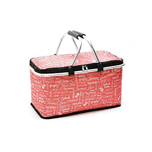 You will think of me Großer tragbarer Einkaufskorb des Picknickkorblebensmittels des Mittagessens 29L im Freien (Color : Red English Letters)
