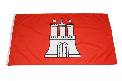 Original Handycop® Flagge Fahne F92714 Hamburg Landesflagge mit Wappen 90 x 150 cm - wetterfeste Qualität