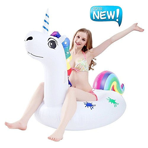 Riesiger Aufblasbarer Einhorn Schwimmtier, Aufblasbar schwimmen Floß Pool Spielzeug Einhorn Luftmatratze PVC Aufblasbarer Schwebebett Schwimminsel Wasserspielzeug für 1-2 Personen mit Schnell Ventilen (XL aufblasbarer Einhorn)