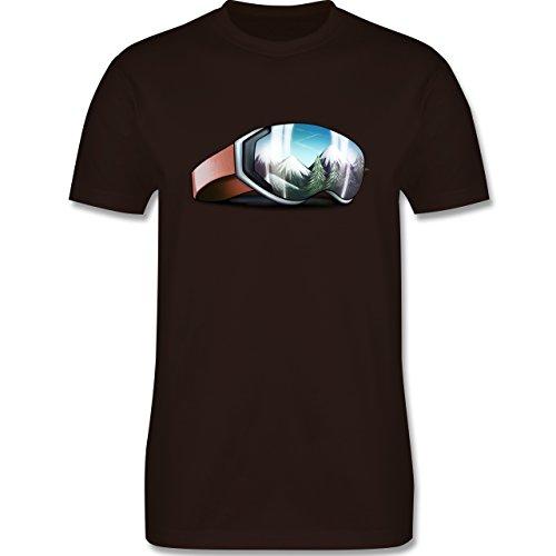 Wintersport - Skibrille - Herren Premium T-Shirt Braun
