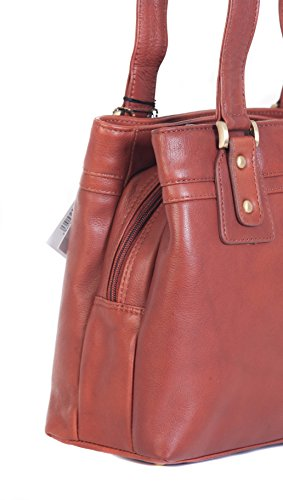 VISCONTI, tracolla di vera pelle di qualità superiore con 3 scomparti. 'CLARA' 19476 Marrone