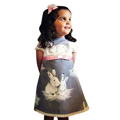 YWLINK MäDchen Spitze Patchwork Kurze ÄRmel A Line Kleiden Ostern Tag Kaninchen Drucken Kleidung Kleinkind Baby Abendkleider - König Löwe Kleinkind Kostüm