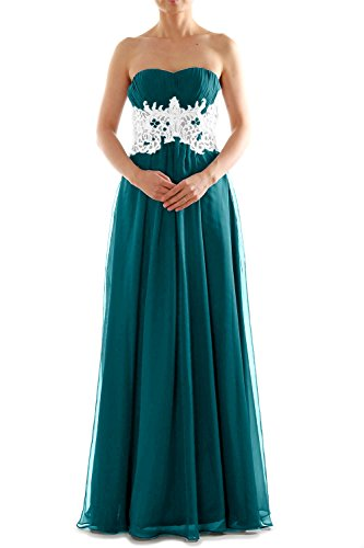MACloth Women's Strapless Long Lace Chiffon Prom Dress Formal Party Ball Gown Teal