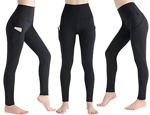MandH HK Damen Hoher Taille Pocket Yoga Hose Bauchkontrolle Workout Running 4-Wege Stretch Yoga Leggings - Schwarz - XL (Spandex Capri Pants Womens)