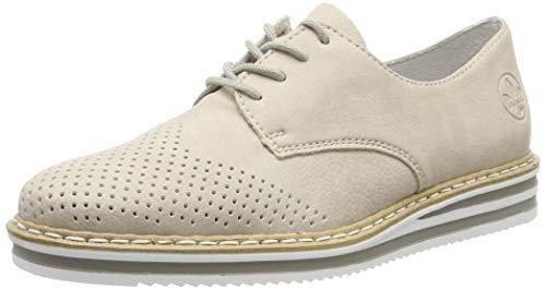 Rieker N0229-60, Zapatos Cordones Derby Mujer, Beige
