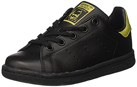 Adidas Unisex-Kinder Stan Smith Sneaker Dekollete, Schwarz (Core Black/Core Black/Gold Metallic), 38 2/3 EU