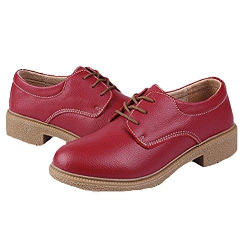 Vogstyle Femme Handmade Vintage Derbies Oxford en cuir Style 3 Rouge
