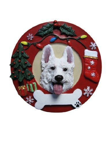White German Shepherd Ornament Personalized and Hand Painted Measures 3.75 Inches Diameter by E&S Pets -