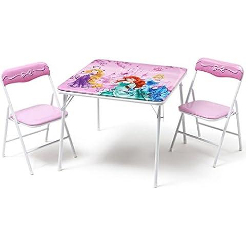 Disney Princess bambini sedile gruppo mobili per bambini, tavolo pieghevole sedia pieghevole tavolo + 2sedie nuovo - Principessa Pieghevole Tavolo