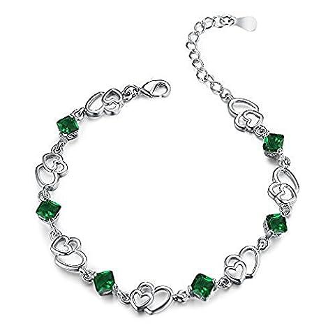 findout Amethyst rot, rosa, blau, weiß-Kristallherz-Silber-Armband für Frauen Mädchen. (grünen