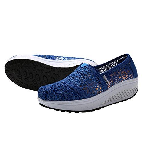 Esportivos Saguaro® Mulheres Calcanhar De Azul Mulheres Fáceis Profundo sapatos Calçados Cunha Confortáveis Casuais Verão Planalto Para OHqPddw